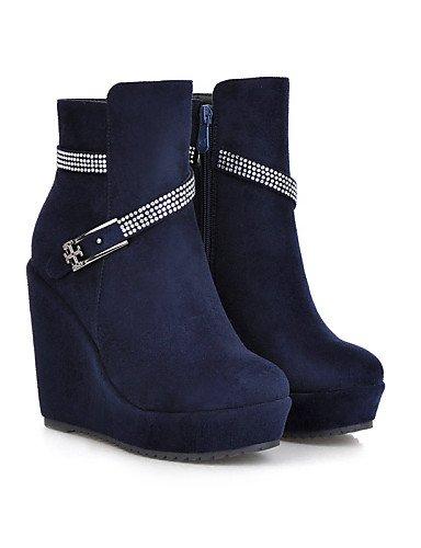 Azul Cn39 us6 Negro Casual A Punta La Uk6 Cn36 Rojo us8 Zapatos Uk4 Vellón Mujer Marrón Vestido Brown Cuñas De Blue Eu36 Redonda Botas Eu39 Moda Tacón Cuña Xzz g4wOaZw