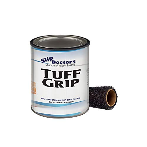 Slip Resistant Coating, Interior/Exterior, Textured to Increase Traction. Industrial Grade, High Performance - Tuff Grip (Light Gray, Gallon)