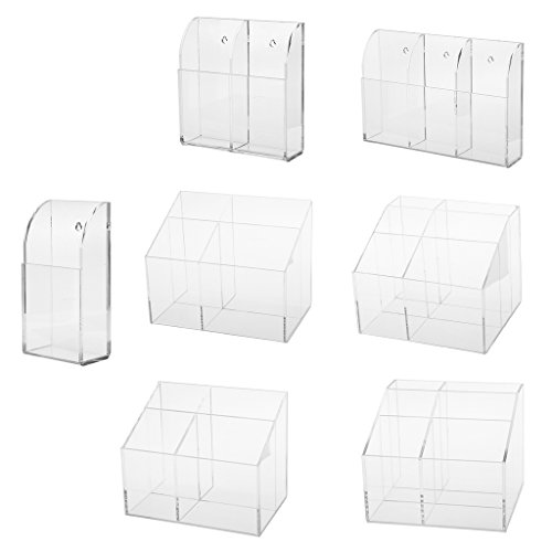 Price comparison product image MagiDeal 4mm Acrylic TV Air Remote Control Holder Case Wall Mount Storage Box - 4 Grids