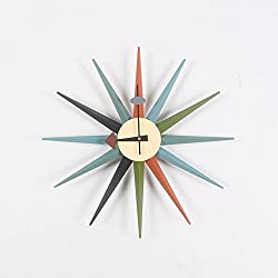 MCC Sunburst Atomic Wooden Wall Clock Mid Century Multi Color Handmade Antique Retro Telechron Danish Nelson Style , color