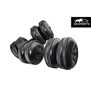 2017 NEW CB Sports Deluxe, Travel Dumbbells Heavy Weight upto 55lb/25kg + FREE Extension Pole Adjustable, Portable Dumbbells Home Workout Equipment (Set of 2) FILL WITH WATER BLACK