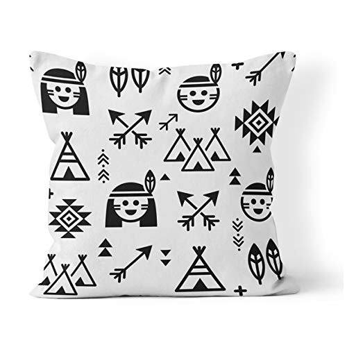 Native Teepee Indian American (Suklly Throw Pillow Cover Square 18x18 Inch Indian for Boys and Girls Native American with Teepee and Arrows Apache Tribal Cushion Home Sofa Decor Hidden Zipper Polyester Pillowcase)