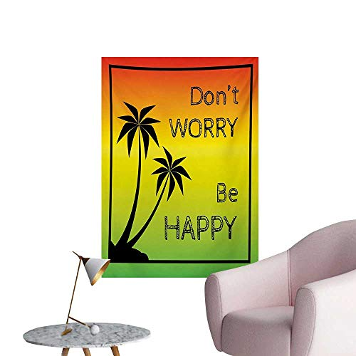 Anzhutwelve Rasta Photographic Wallpaper Dont Worry Be Happy Music Quote of Iconic Singer Palms Ombre ColorsLime Green Yellow Black W24 xL36 The Office Poster