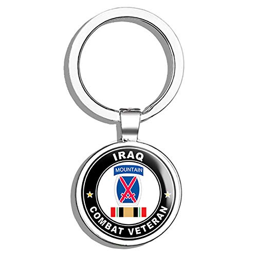 HJ Media US Army 10th Mountain Division Iraq Combat Veteran Operation Iraqi Freedom OIF Metal Round Metal Key Chain Keychain Ring