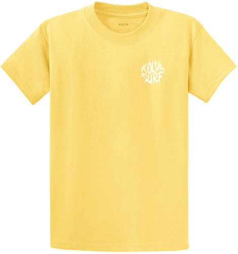 Yellow T-shirt Text - Joe's USA Koloa Circle Text Heavyweight Cotton T-Shirt-Yellow/w-L