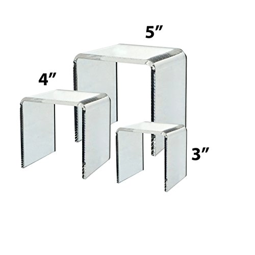 Clear Acrylic Riser Set of 3 (3-Inch, 4-Inch, 5-Inch)