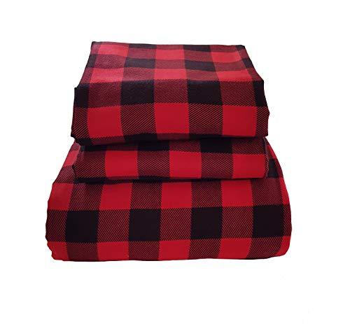 Friends at Home %100 Turkish Cotton 180 GSM Heavyweight Velvet Flannel Duvet Cover Set King (Plaid Red) (Velvet Cover Duvet Red)