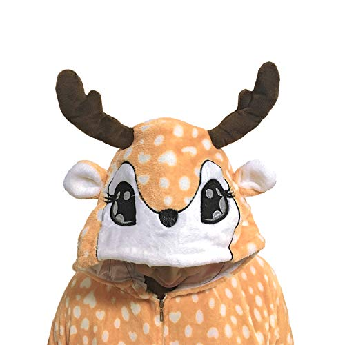 Deer Fleece Onesie Pajamas for Women Adult Cartoon