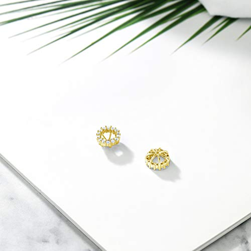 Gem Stone King 925 Yellow Gold Plated Sterling Silver Earring Jackets for 6x4mm Oval Studs