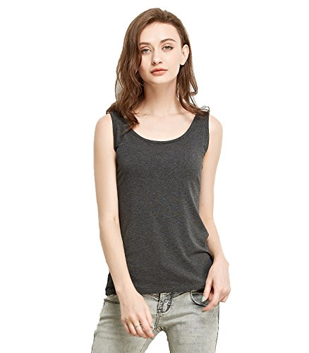 Ribbed Girls Top - Liang Rou Women's Mini-Ribbed Stretch Scoop Neck Tank Top Dark Gray S