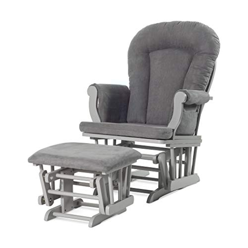 Forever Eclectic by Child Craft Cozy Glider and Ottoman, Cool Gray with Dark Gray Cushion