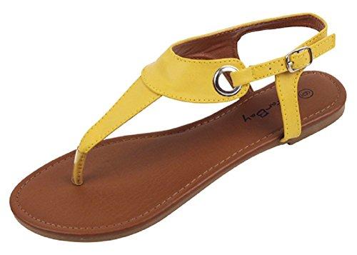 The Bay Sunville Womens Roman Gladiator Sandals Flats Thongs (11, Yellow) (Bay Sandal Thong)