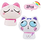 AILIMY 2PCs Squishies Slow Rising Scented Soft Jumbo Lovely Cat / 4PCs Random Mini Mochi Squeeze Toys Prime Kawaii Animal Party Supply,Stress Reliever Toys
