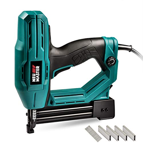 Electric Brad Nailer, NEU MASTER NTC0040 Electric Nail Gun/Staple Gun for Small Project of Upholstery, Home Improvement and Woodworking, 1/4'' Narrow Crown staple 400pcs and nail 100pcs - Electric Brad Professional