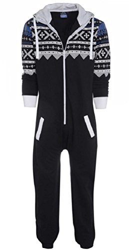 Nicetage Unisex Adult New Aztec Printed Hooded Onesie Zip Up All in One Jumpsuit New-Snow XXL