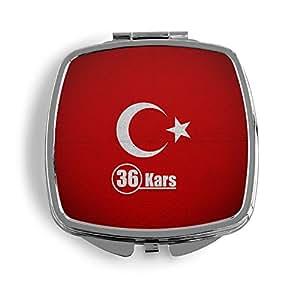 Kars 36Türkiye Turquía metal Espejo de bolso cosmético Beauty–Espejo plegable Impreso Funda Turkey BAYRAK