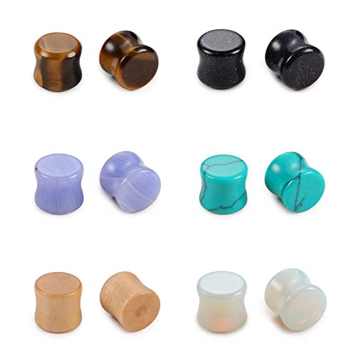 Evevil Wood Mixed Stone Plugs 6 Pairs/12 Pieces Set 00g Ear