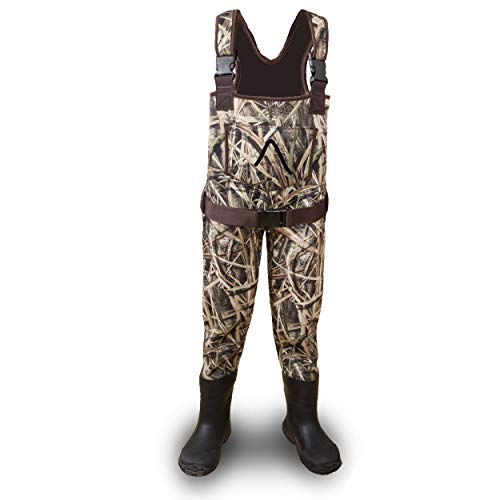Wind River Sporting Goods Neoprene Adjustable Children and Youth Waterproof Fishing and Hunting Chest Waders for Youth, Kids, Toddlers, and Children (Mossy Oak, 4/5 Little Kid)