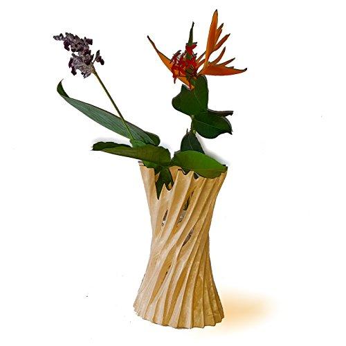 roro Mango Wood Hand-Cut Concave Vase Made from Sustainable Orchard - Vase Wood Ikebana