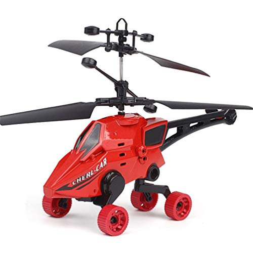 SUKEQ Remote Control Helicopter Kids, 2CH Gyro Mini RC Helicopter 4 Wheels Indoor RC Toy RC Flying Drone Beginner (Red)