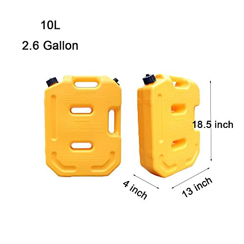 SXMA 10L Fuel Tank Cans Spare 2.6 Gallon Portable Fuel Oil Petrol Diesel Storage Gas Tank Emergency Backup (Pack of 1) Yellow by SXMA (Image #1)