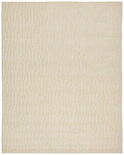 Rivet Geometric Criss-Cross Woven Wool Area Rug, 8' x 10', Cream by Rivet