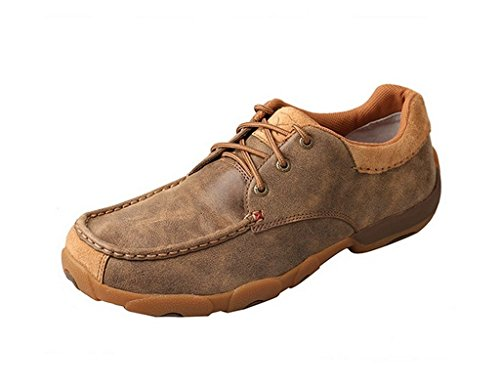 Smooth Brown Footwear - Twisted X Men's Smooth Leather Driving Mocs Moc Toe Brown 9 D