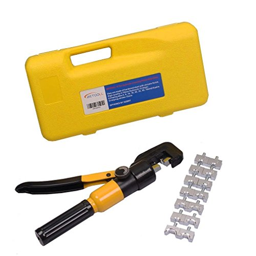 BETOOLL 10 Ton Hydraulic Wire Terminal Crimper Battery Cable Lug Crimping Tool With 8 Dies by BETOOLL