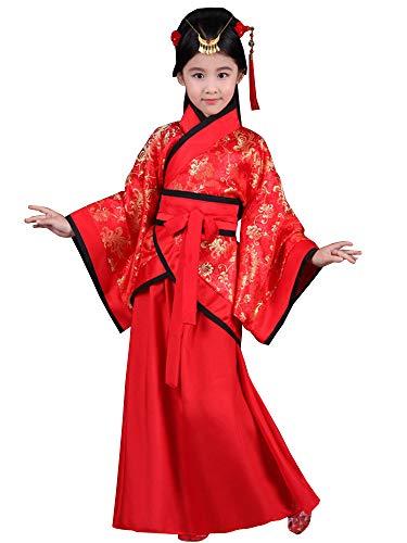 BOZEVON Hanfu - Girls Red Joyous Hanfu Niños Teatro Drama ...