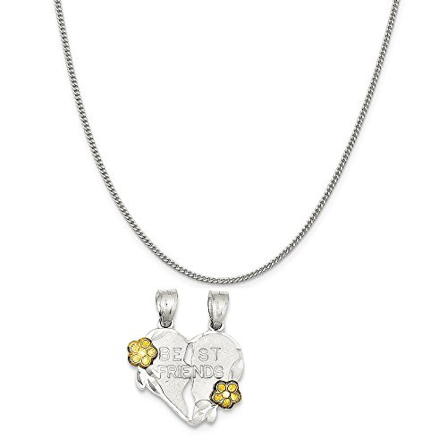 Mireval Sterling Silver Best Friends 2-Piece Break Apart Heart Charm on a Curb Chain Necklace, - Apart Break Charm Heart