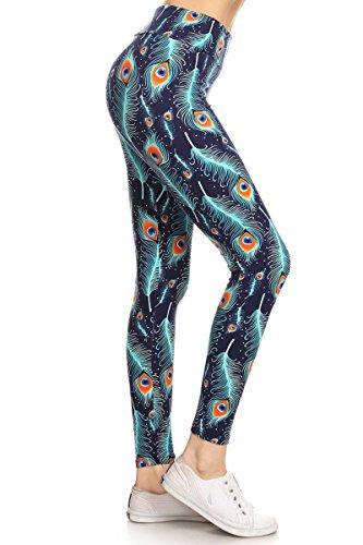 LYX-R519 Peacock Feather Printed Yoga Leggings, Plus -