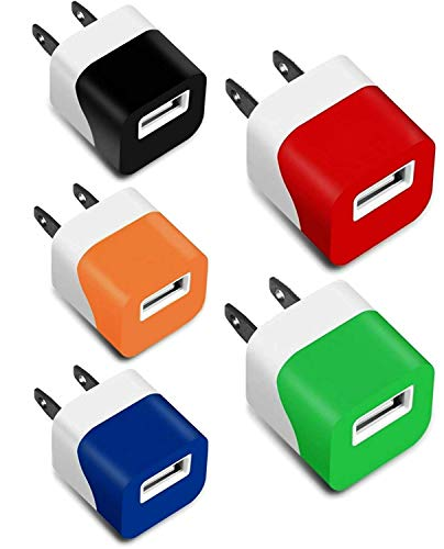 - USB Wall Plug, 5V Mini USB Power Adapter 1A Wall Charger Block 1-Port Portable Cube Compatible with Multiple Smart Phone Devices & Digital Gadgets (5-Pack) Color Assorted