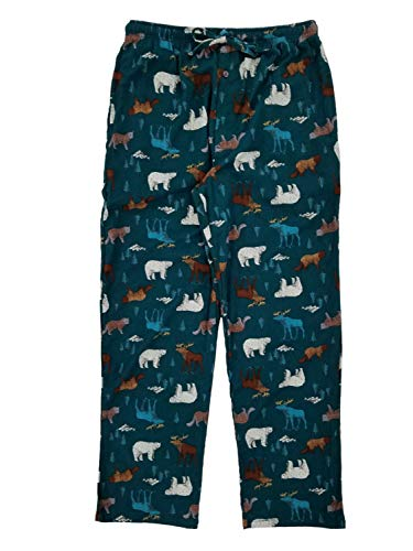 (Stafford Mens Teal Green Wildlife Flannel Sleep Pants Lounge Pants Pajama Bottoms XL)