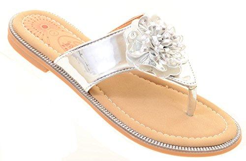 Amazon Silver Flat Shoes