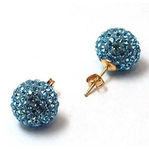 G356 - Boucles d'Oreilles de 12mm en Or Jaune 375/1000 et Cristaux en Forme de Boules Disco Bleues