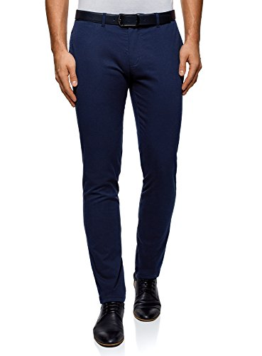oodji Ultra Men's Cotton Chino Pants, Blue, US 31/EU (Match Outfits)