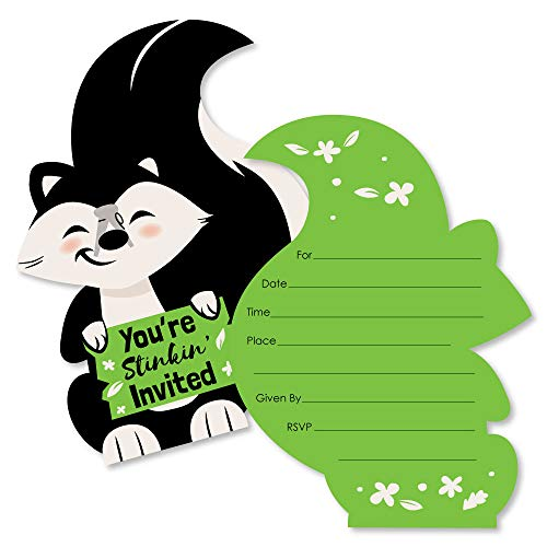 Little Stinker - Shaped Fill-in Invitations - Woodland Skunk Baby Shower or Birthday Party Invitation Cards with Envelopes - Set of 12
