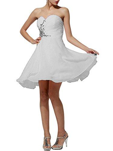 Abiti Donna damigella PRTS da partito festa da da da ad a Abiti d'onore ballo Senza Abiti Abito Bianco Vestito spalline sera da Corto Chiffon Linea 7XndIdgr