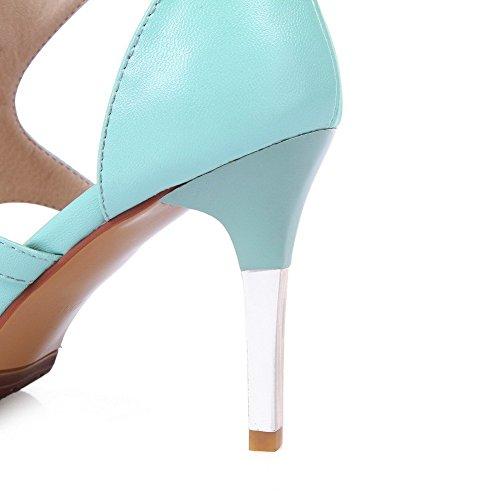 AllhqFashion Mujeres Tacón de aguja Puntera Abierta Sólido Sandalia Azul