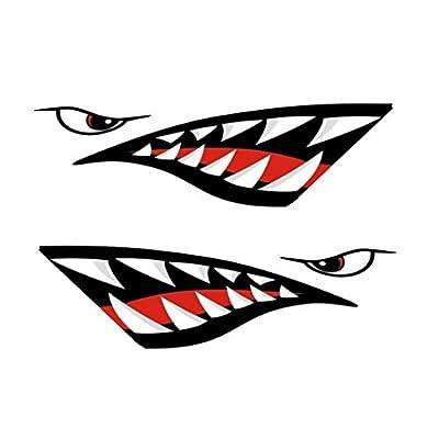 2pcs Shark Teeth Mouth Decal Vinyl Stickers Car Kayak Canoe Ski Hobie Dagger Ocean Boat Graphics Accessories