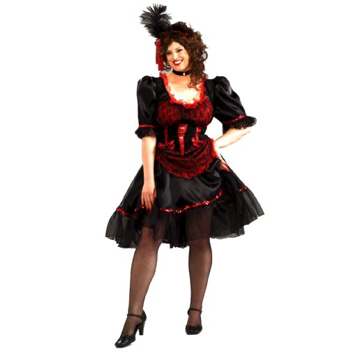 Lacey Corset (Forum Novelties Plus Size Saloon Girl Costume, Red,)