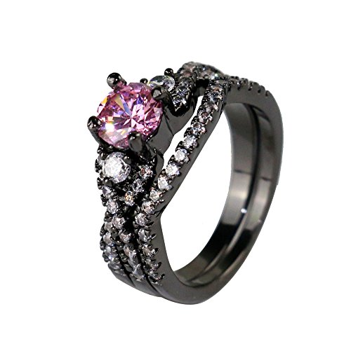 Gy Jewelry 2 in 1 Ring Sets Round Pink Sapphire Black Gold Filled Cross Women's Wedding Ring Engagement Gifts (8)