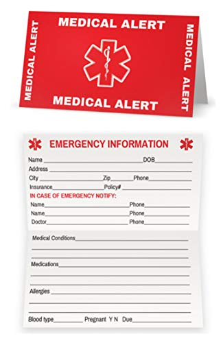 Medical Condition and Emergency Contact ID Wallet Card Folding, Medical Alert Card (5 Pack) - Medical Information Cards