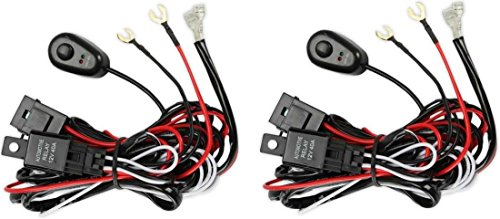 Prime Choice Auto Parts WH840ABPR 2PCS Premium Harness LED Driving Work Light Wiring Loom 12V 40A Switch Relay Kit