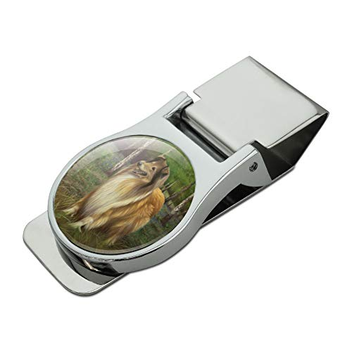 Collie Dog in the Woods Satin Chrome Plated Metal Money Clip
