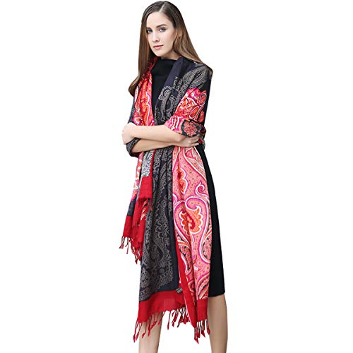 DANA XU 100% Pure Wool Women's Large Traditional Cultural Wear Pashmina Scarf (Black&Red) (Wool Meditation)