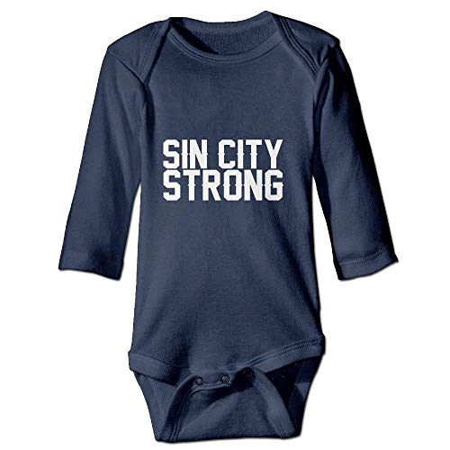 Wishesport FUNINDIY Newborn Baby 100% Cotton Long Sleeve Bodysuit Outfits for Sin City Strong Navy -