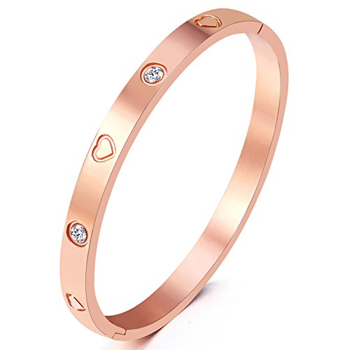 MVCOLEDY Jewelry Rose Gold Plated Bangle Bracelet Stone Stainless Steel Heart Crystal Bangle Bracelets for Women Jewelry Size 6.7