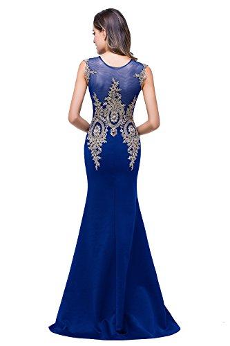 Abendkleid Ärmel Meerjungfrau Ohne Spitze Misshow Elegant Strass Royalblau mit Damen Bodenlang znwp8p5qFf
