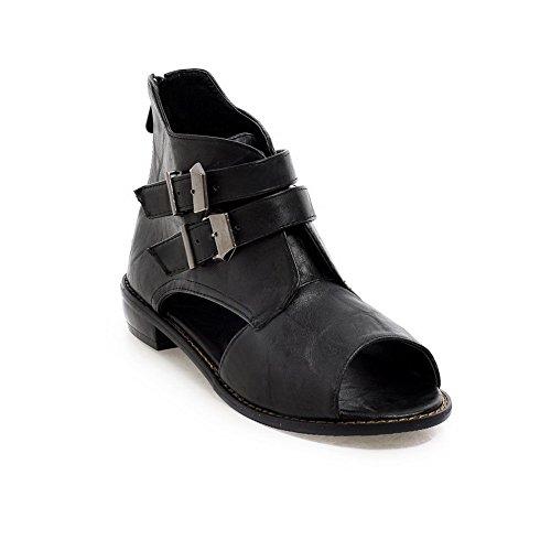 VogueZone009 Women's Low-Heels Soft Material Solid Zipper Open Toe Sandals Black MGA2VZ